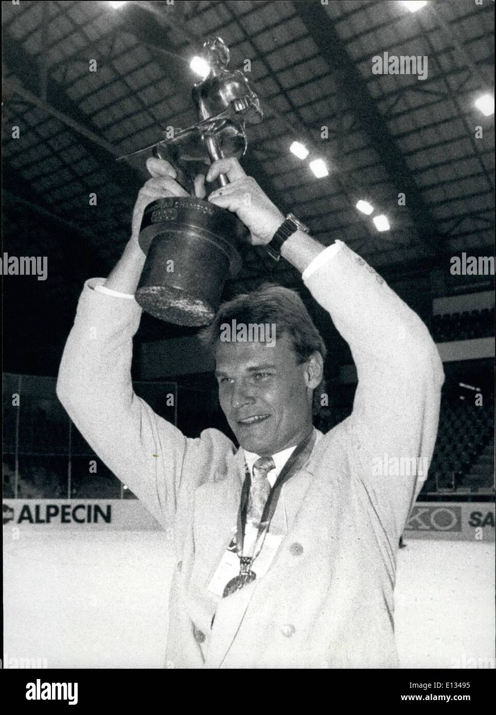 Feb. 28, 2012 - The Icehockey -World championships are actually taking place in Bern/ Switzerland. After the Qualification -round is over Canada, Sweden, Soviet union and Czechoslovakia will participate in the final competition for the title. Picture Shows: Swedish Captain Thomas Rundkvist holds up the cup after his team won the European Championships,. This tittle was given after the qualification -round. - Stock Image