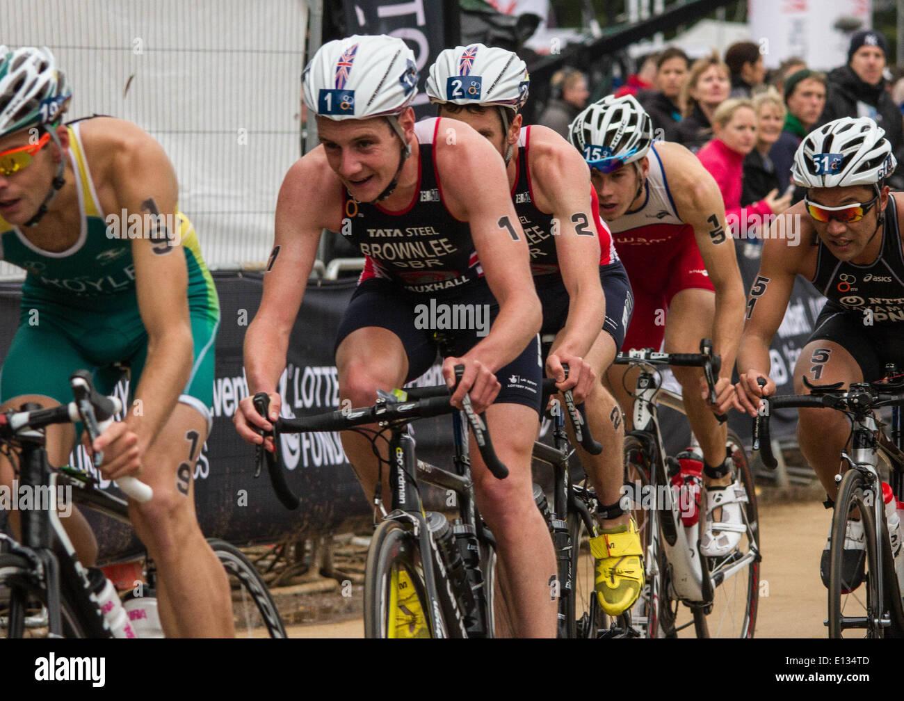 Alistair Brownlee at the ITU Triathlon London 2013 - Stock Image