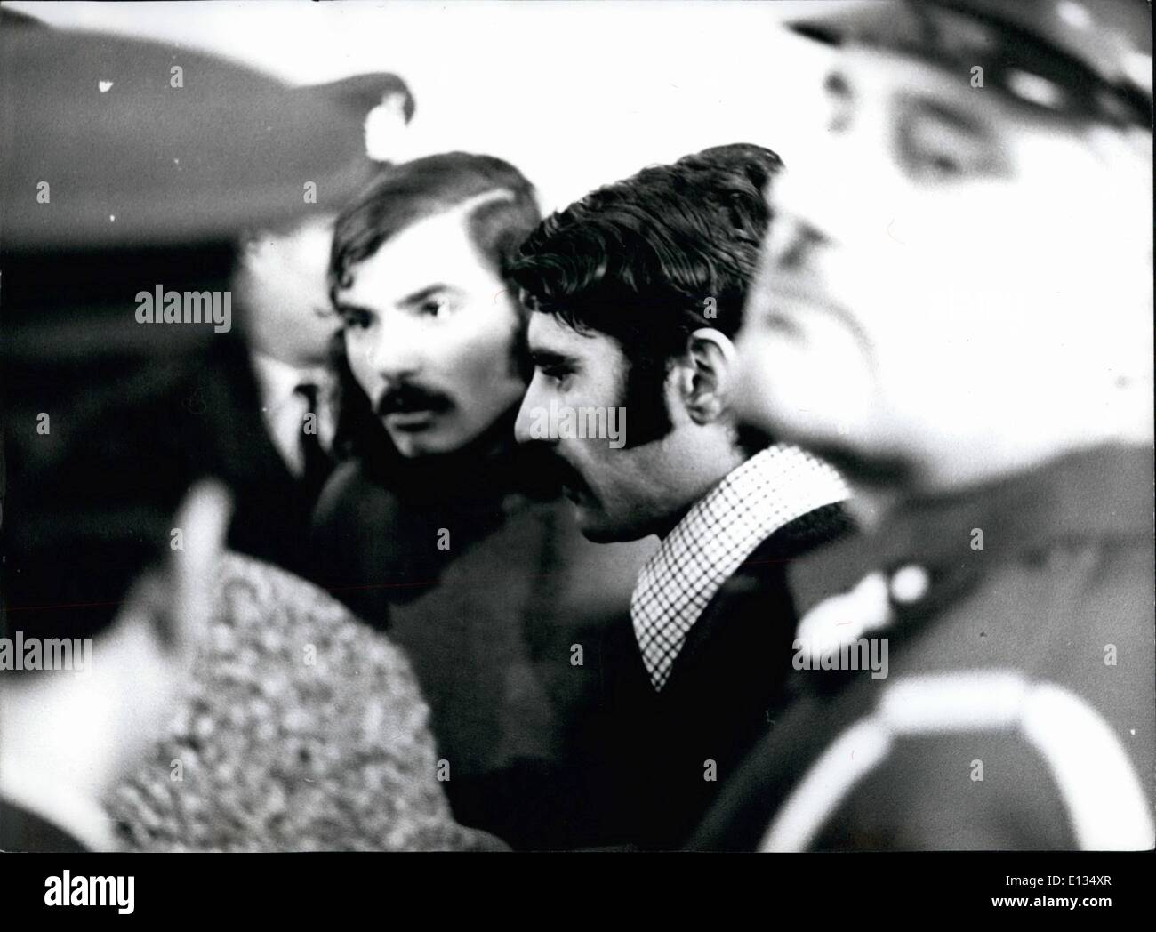 Feb. 28, 2012 - Five times death penalty for each of them. That was the verdict of the Athens court on January 24th 1974 against the two Palestinians who had outraged the Athens Airport on August 5th 1973 with hand granades and automatic guns. Five people were killed and 56 injured. Nobody in Athens however believes, that the convicted will really be executed. Here the two Palestinians Khanturan Palaal (21) and Arid el (22) in the Athens courtroom under the strictest security measures. - Stock Image