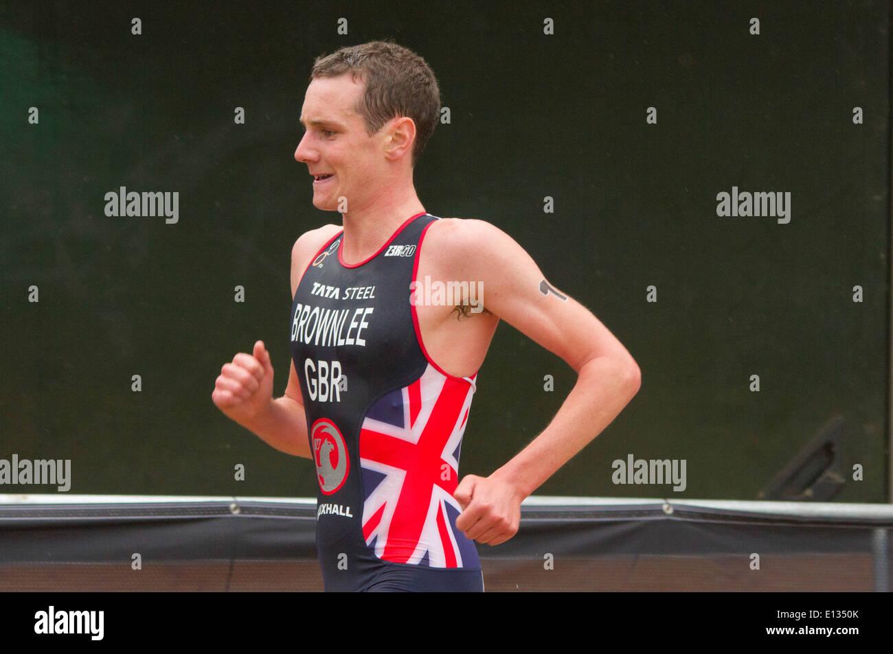 Alistair Brownlee during the 2013 ITU Triarhlon held in London. - Stock Image