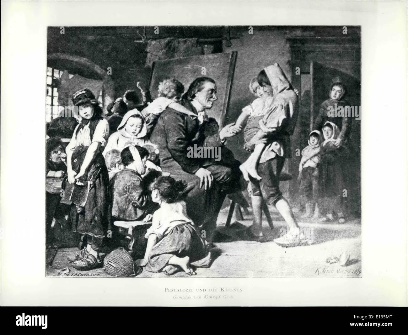 Feb. 28, 2012 - Graphic Reproduction of a painting showing Pestalozzi with children dated 1819.  Pictur - Stock Image