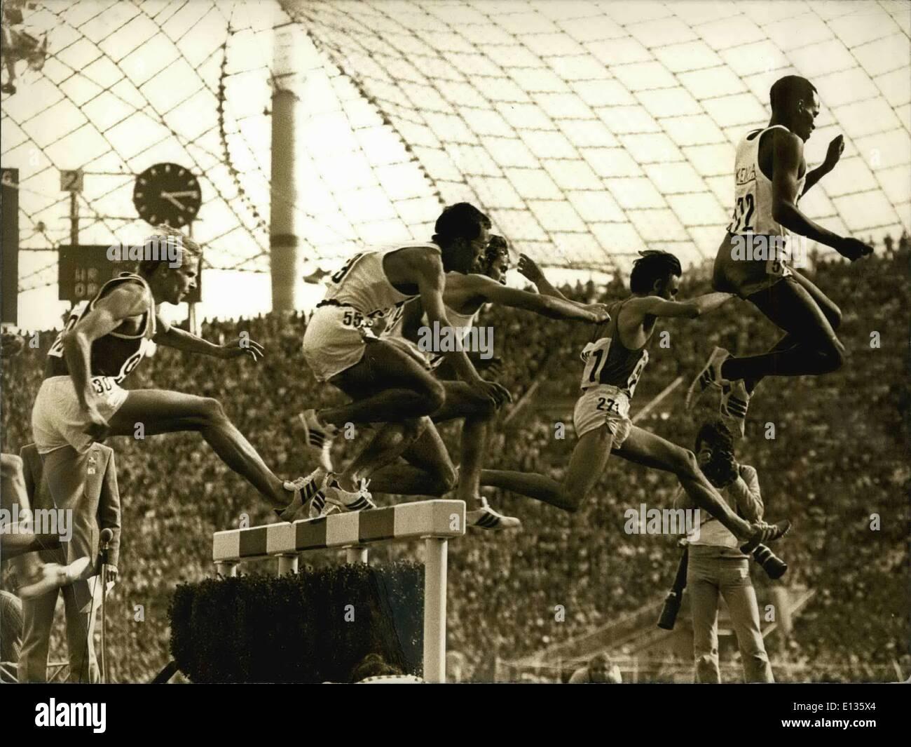Feb. 28, 2012 - JEUX OLYMPIQUES DE MUNICH : N.P.M LE 3000 METRES STEEPLE DE G. A DROITE: AMOS BIWOIT (KENYA), JEAN - Stock Image