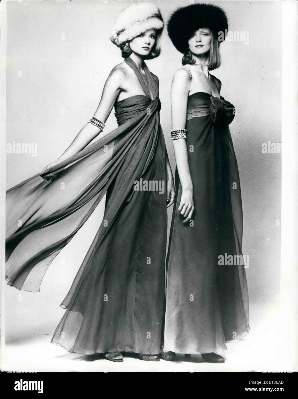 Feb. 28, 2012 - A Touch Of Royal Elegance: There was a touch of regal elegance about these two gowns, by french Couturier Jean-Louis Scherrer and shown in his Autumn/ Winter Collection. - Stock Image