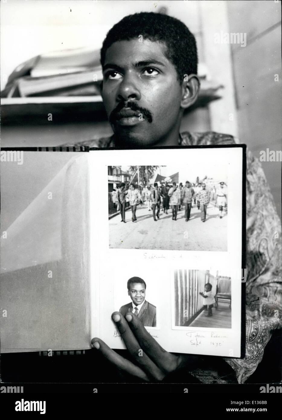 Feb. 28, 2012 - Evan X Hyde, a popular man in British Hondures, heeds UBAD, the black power party. - Stock Image