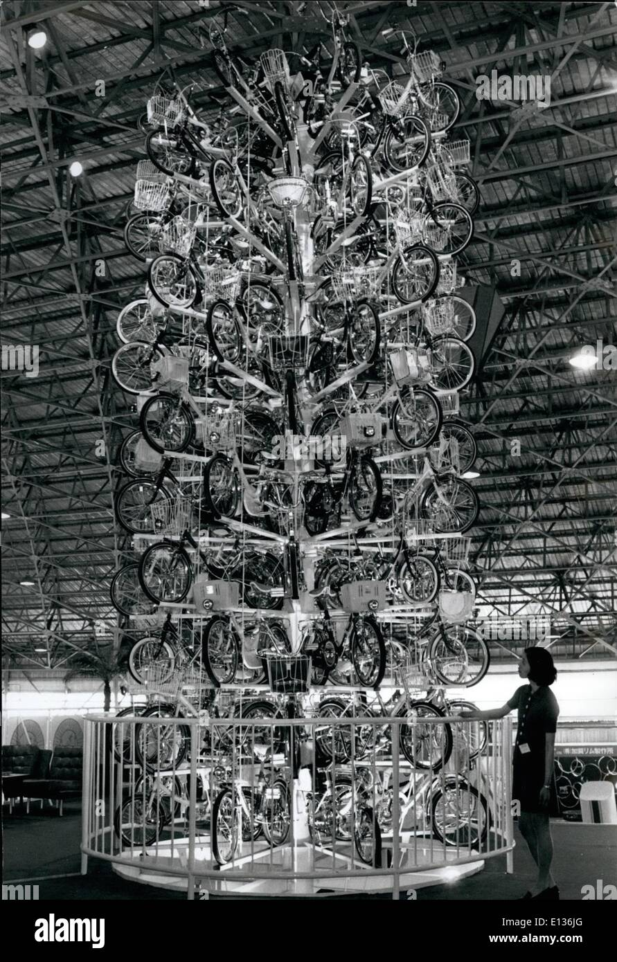Feb. 28, 2012 - Bicycle ''Tree'' In Tokyo: Japanese-made bicycles are formed into the shape of a tree at the 9th International Trade Fair currently in progress in Tokyo. The bicycles will be given away as prizes when the fair closes. - Stock Image