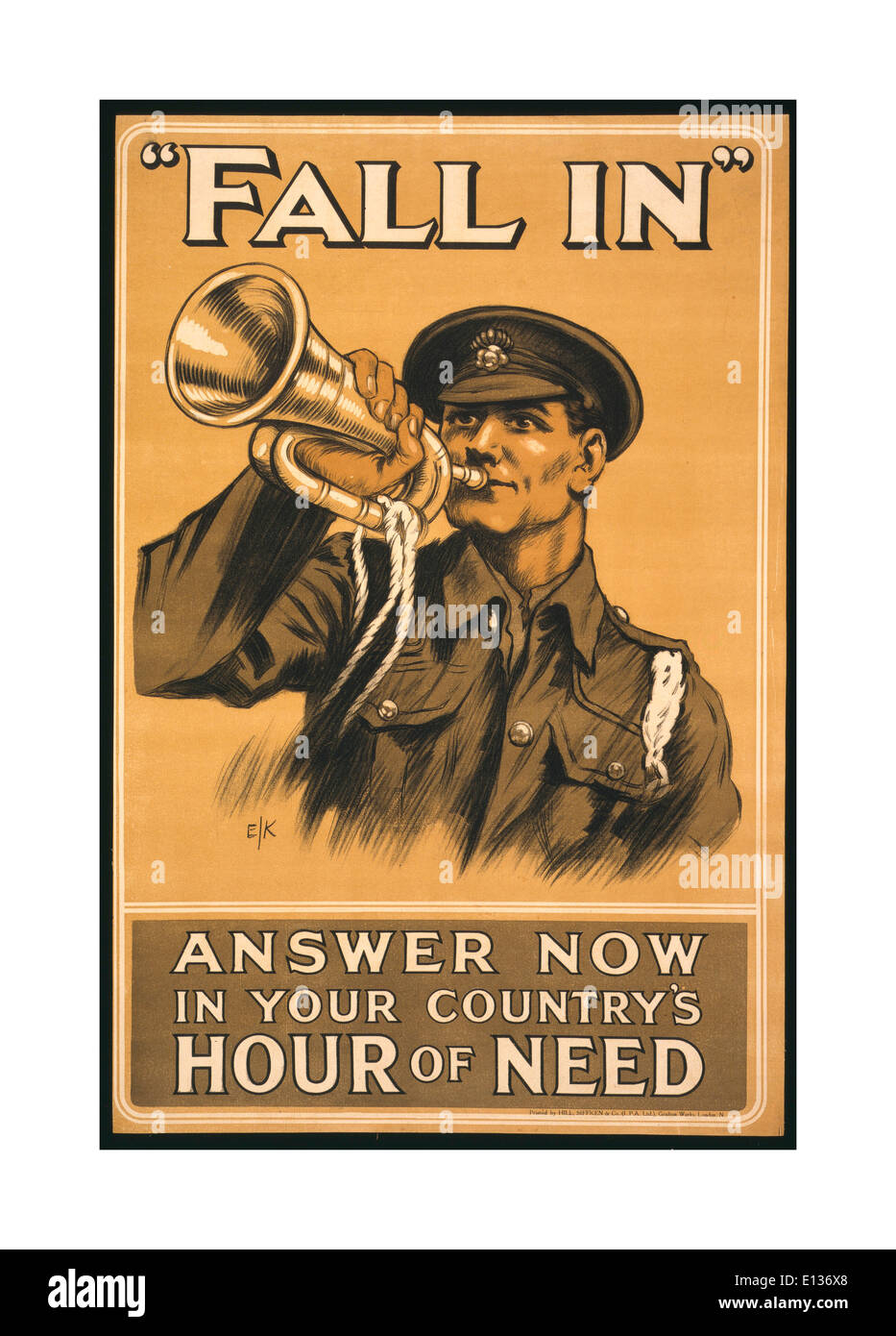 WW1 Recruitment propaganda poster in 1914 UK showing a soldier in uniform blowing 'Fall In' on a bugle - Stock Image