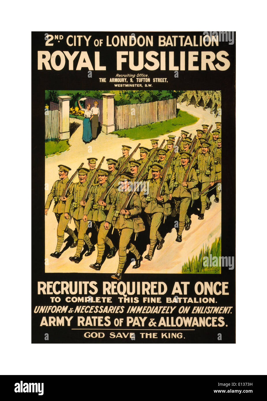 WW1 Recruitment propaganda poster in 1914 UK showing Royal Fusilier soldiers marching in uniform - Stock Image