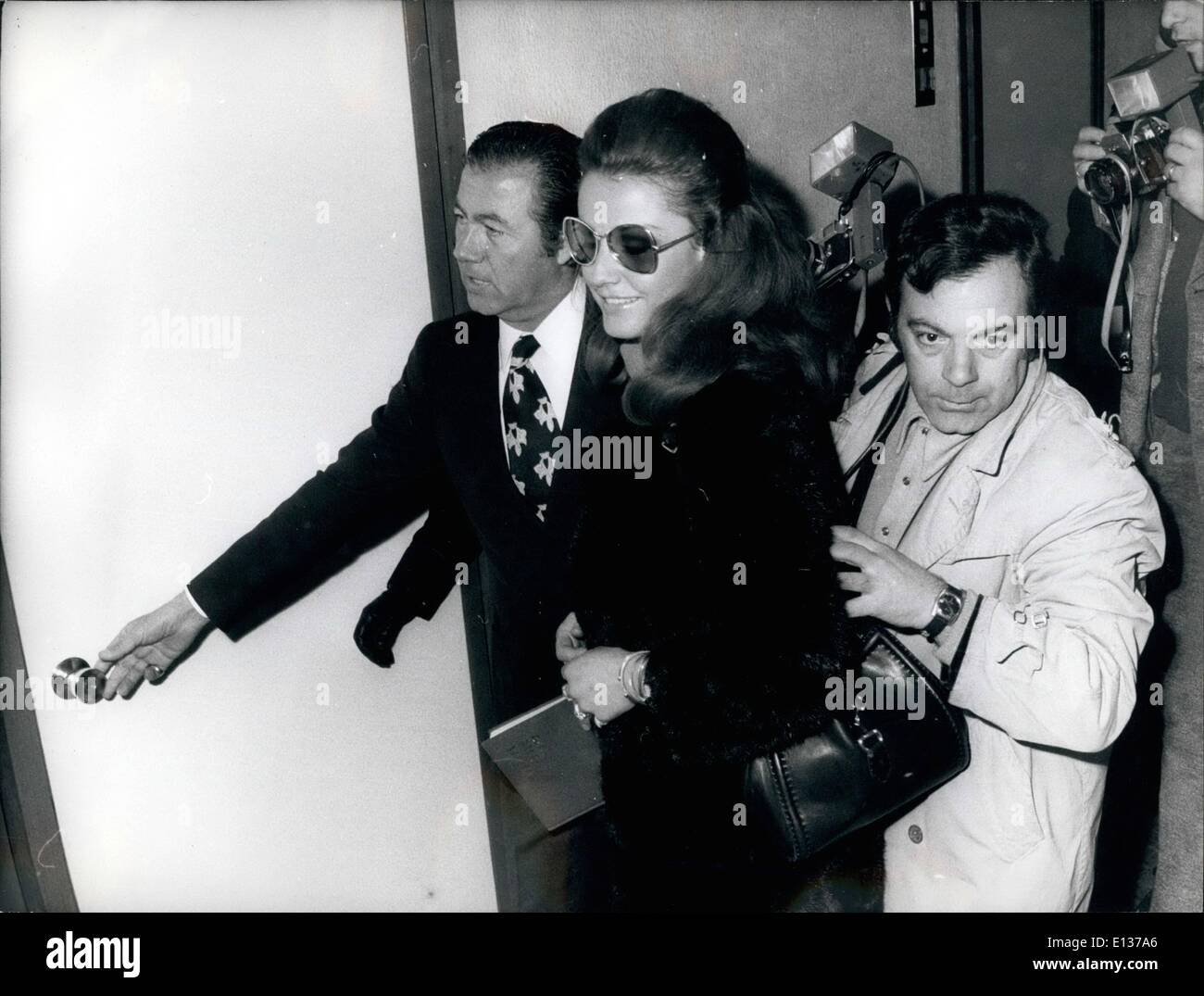 Feb. 29, 2012 - Polish actress Magda Konopka talks with her lawyer angelozzi Garibolid after being interrogated by Rome magistrate investigating a drug scandal. She and 24 other persons, including jet set personalities, were named suspects in the case of the ''Number One'' night club, where drugs were allegedly found. - Stock Image