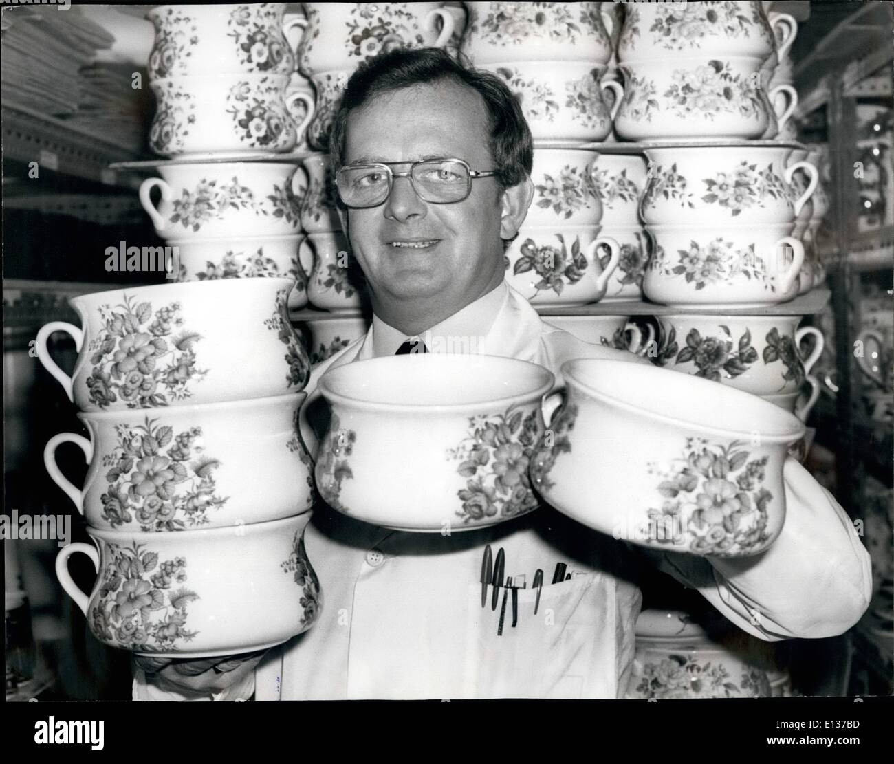 Feb. 29, 2012 - Peter Chadwick (M. Director), with some of his many pots. - Stock Image