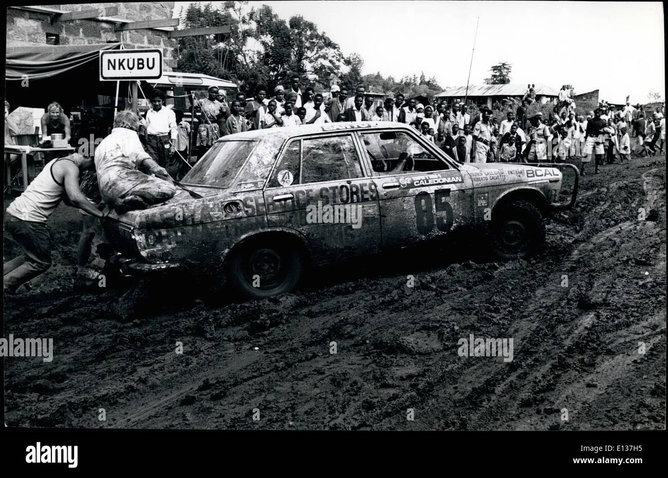 Feb. 29, 2012 - East African Safari Brawny muscles strain in an effort to extract the Ford Escort 1300 GT of Pat Tarrant and Brian Haworth out of mud that's as sticky as treacle. - Stock Image