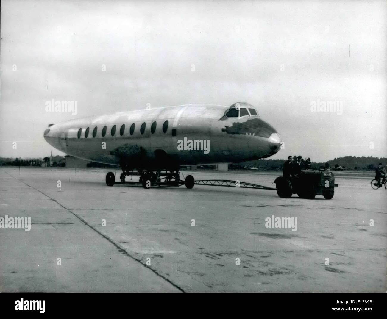Feb. 29, 2012 - Producing The Vickers Viscount: Looking like an enormous seal the body of a Viscount is transferred - Stock Image