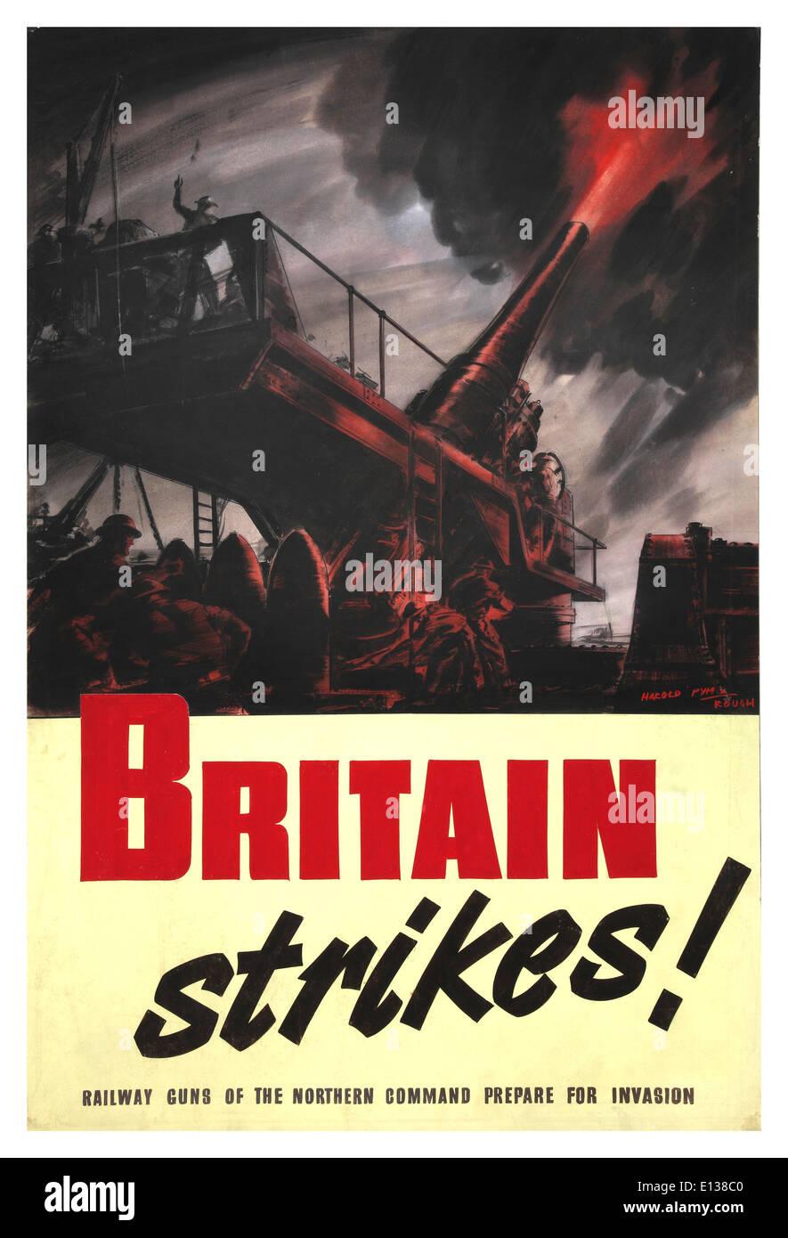 WW2 propaganda poster 'Britain Strikes' railway guns of Northern Command preparing for invasion 1944 - Stock Image