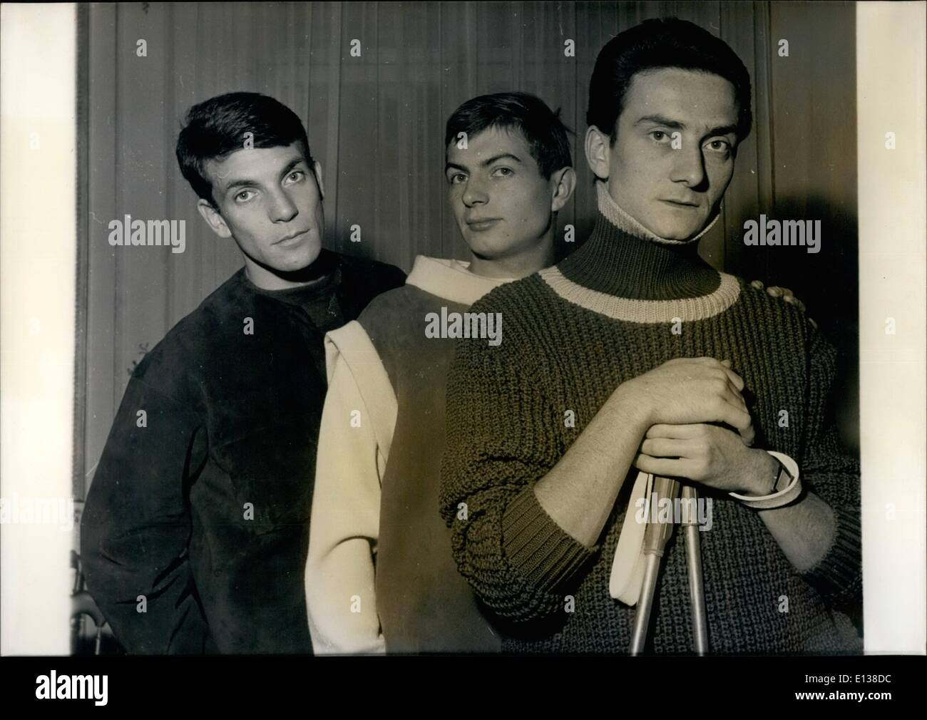 Feb. 29, 2012 - New look on the Masculine fashion: Parisian dressmaker, Pierre Cardiin presented today the new masculine fashion for Autumn and Winter 1960. Photo shows three models of skined and kintted pullovers for winter sports. - Stock Image