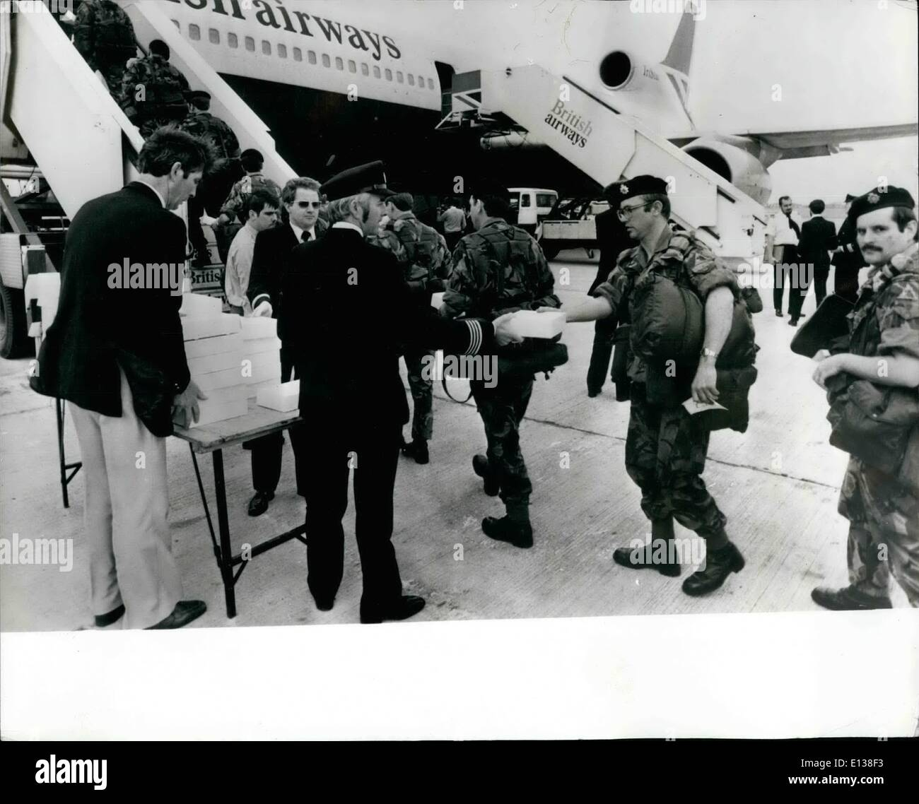 Feb. 29, 2012 - 15th September 1980 Territorials Join Exercise Crusader. 800 Naval Reserve and Army Territorials left London Airport (Heathrow) at the weekend on a VC10 and two Tristars bound for Dusseldorf and Guttersloh to take part in Exercise Crusader. They were part of over 20,000 soldiers of the Territorial Army who left Britain this weekend by sea and air to join more than 10,000 Regulars who started moving to Germany two weeks ago. In a short time the Territorials had left their civilian jobs and were transported to action Stations on the Continent - Stock Image