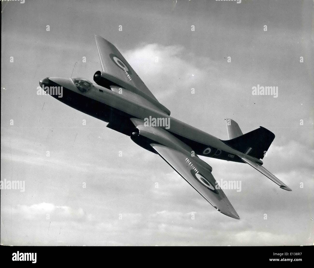 Feb. 29, 2012 - The Canberra jet bomber is a fine sight in flight. She is powered by two Rolls-Royce Avon axisl-flow gas turbines. She has a crew of three and Bassingboura R.A.F. station is now turning out the men who will fly her. - Stock Image