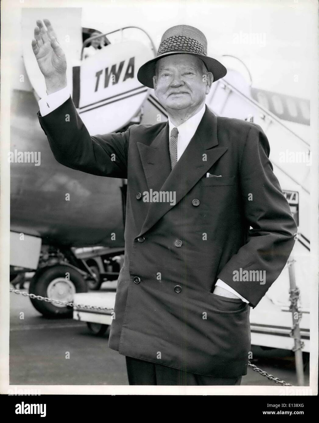 Feb. 29, 2012 - 84-year-young former President of the United Stated Herbert Hoover prepares to board a TWA Jetliner Stock Photo