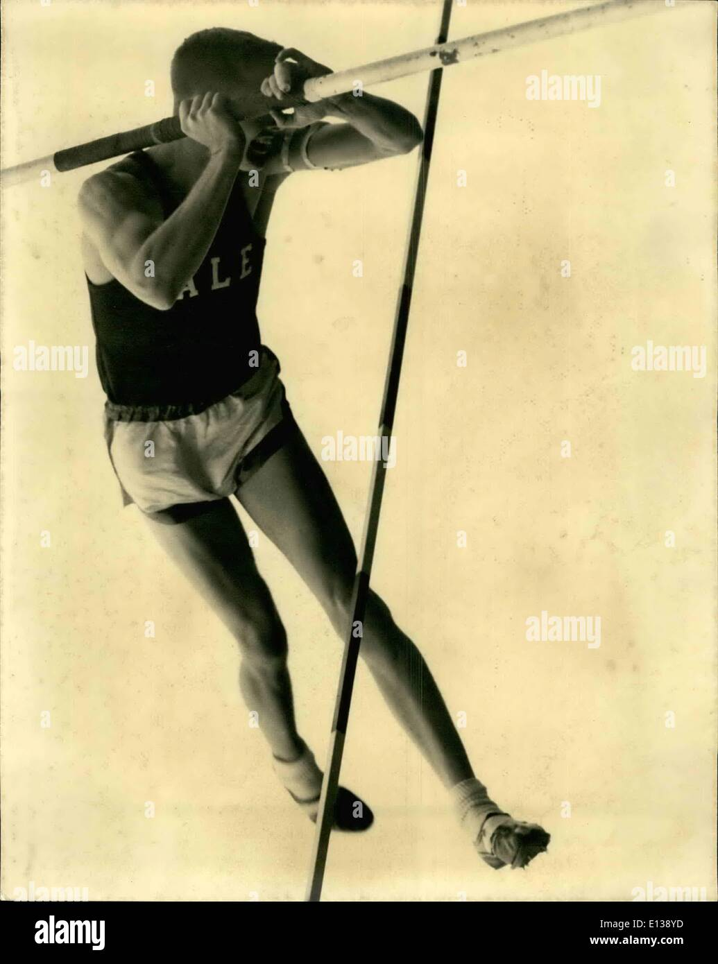 Feb. 29, 2012 - Yale man in pole vault. Harold Work (Yale) in the pole vault at the Anglo-American Inter-Varsity Athlete meet between Oxford and Cambridge and Yale and West Point at White City, London today June 11 - Stock Image