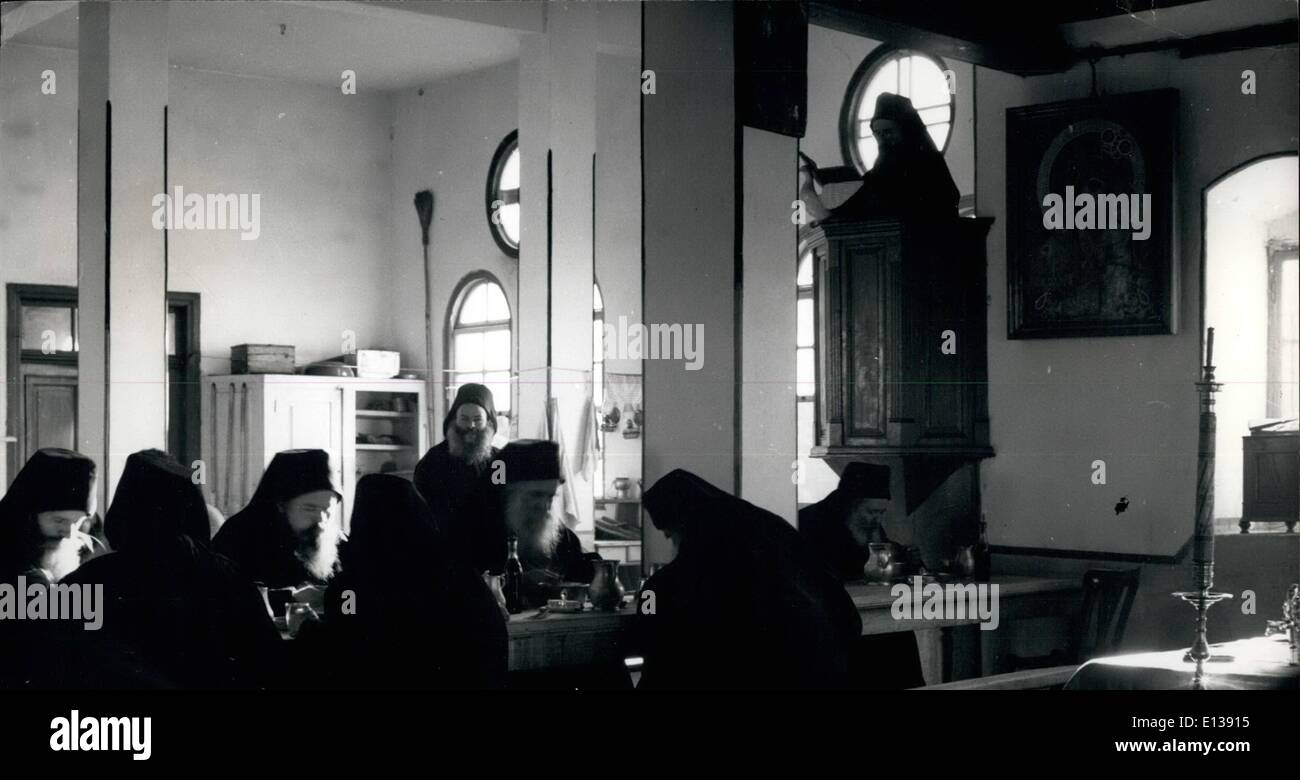 Feb. 29, 2012 - Cenobitic monks don't cook separately; they have their meals in the trapeza refectory while a colleague reads - Stock Image