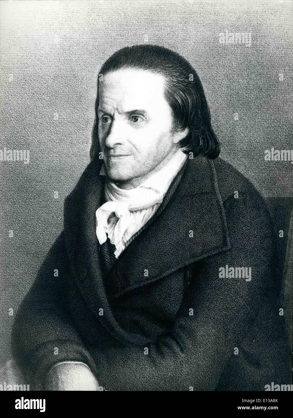 Feb. 29, 2012 - Johann Heinrich Pestalozzi 1746-1827. - Stock Image
