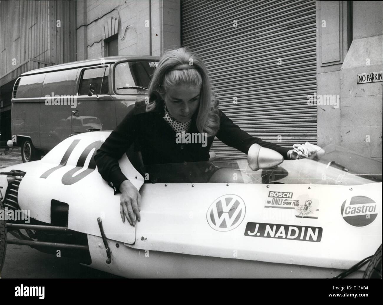 Feb. 29, 2012 - Johnny Nadin with her single seater formula vdo 15,000 c.c. racing car. - Stock Image
