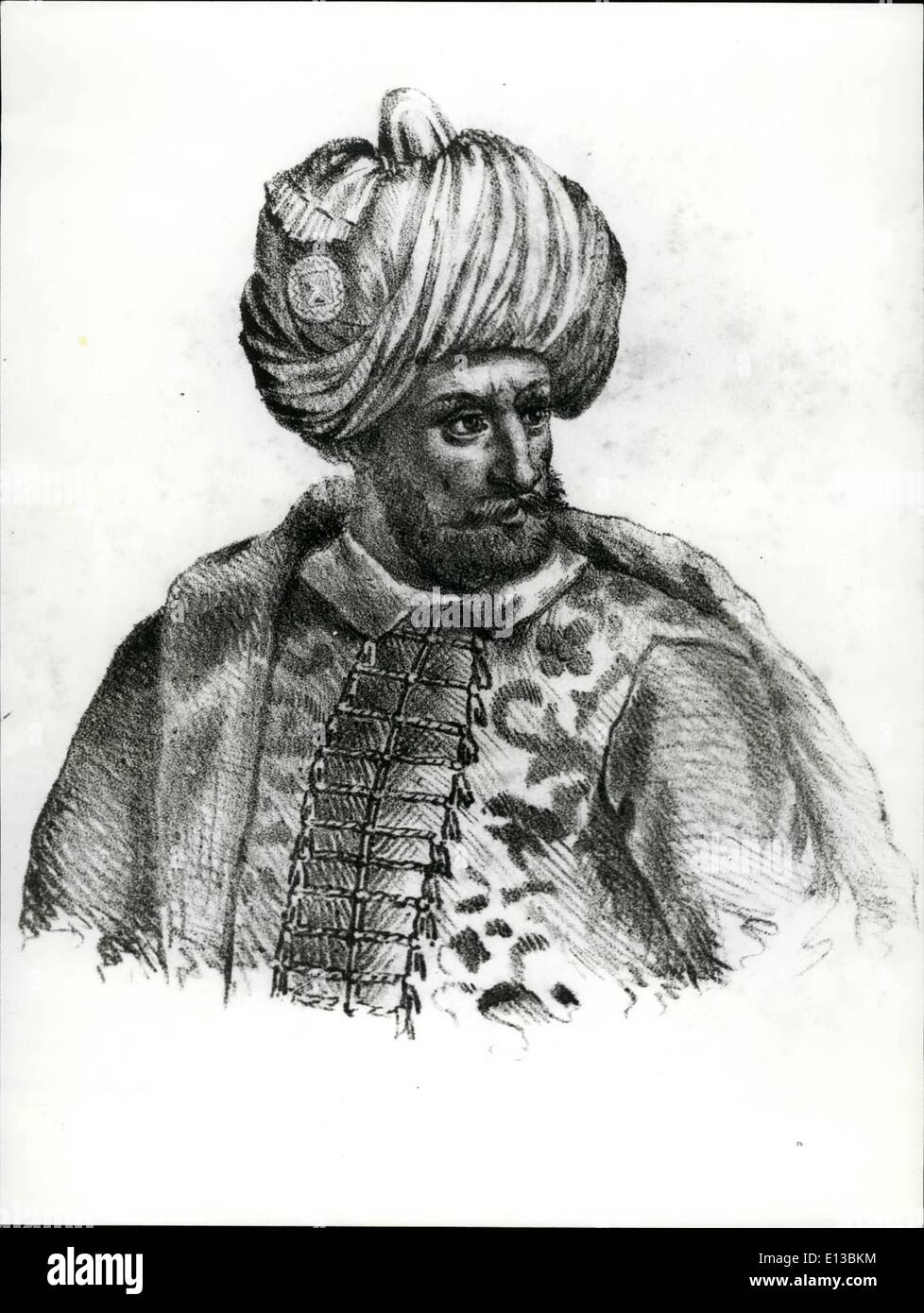 Feb. 29, 2012 - Sephardic jews in Turkey. Black and White Print (B) Sultan Beyazit II: Sultan Beyazit II son of Mehmet II, the Conqueror who at the time of the expulsion of the Jews from Spain in 1492, opened doors of the Ottoman empire to the exiles and gave them haven. The Spanish Jews came mainly to Salonika, Smyna and to Constantinople. - Stock Image