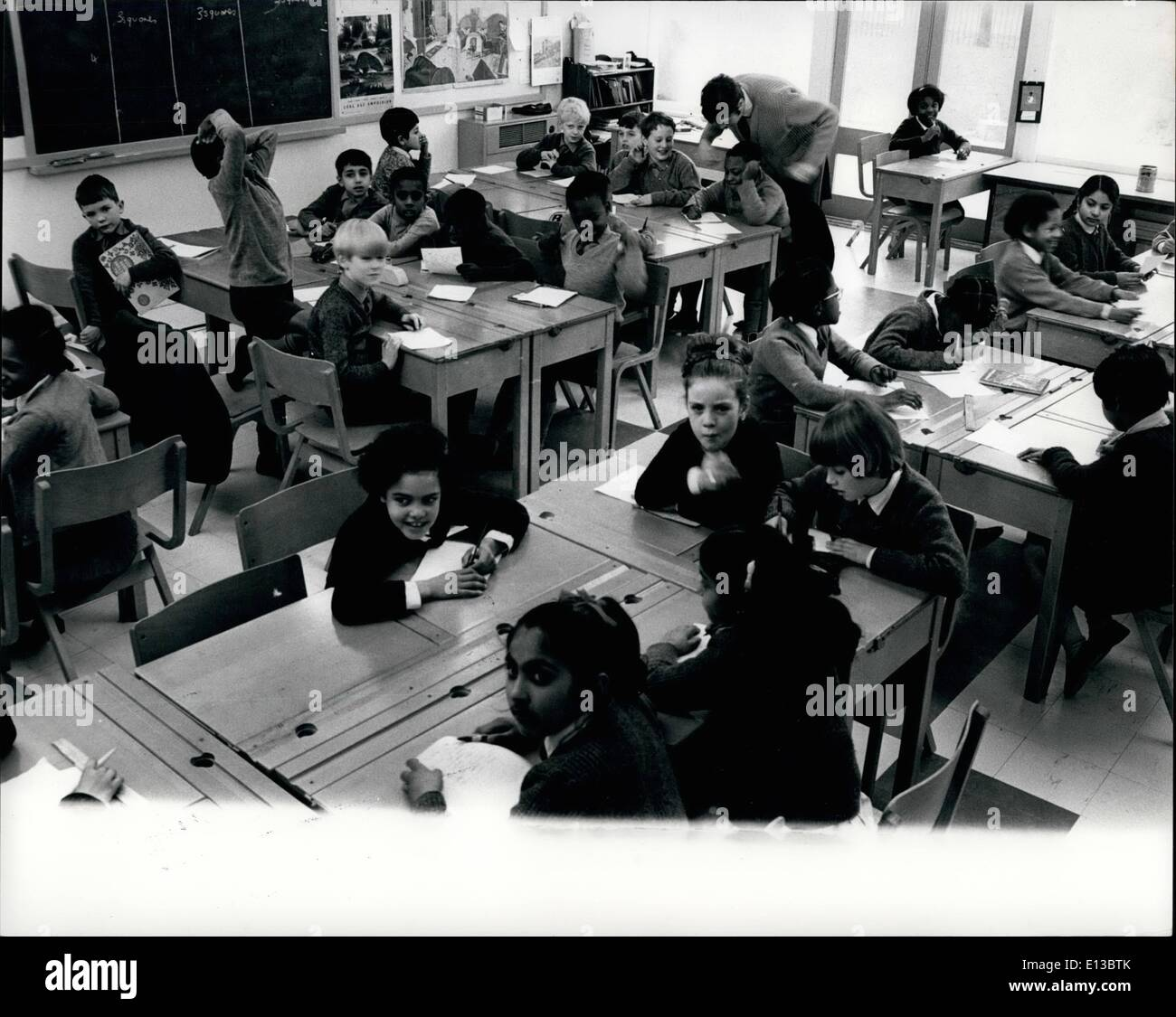Feb. 29, 2012 - In this lesson on simple structure it is a task to pick out the seven or eight white children majority of coloured. - Stock Image