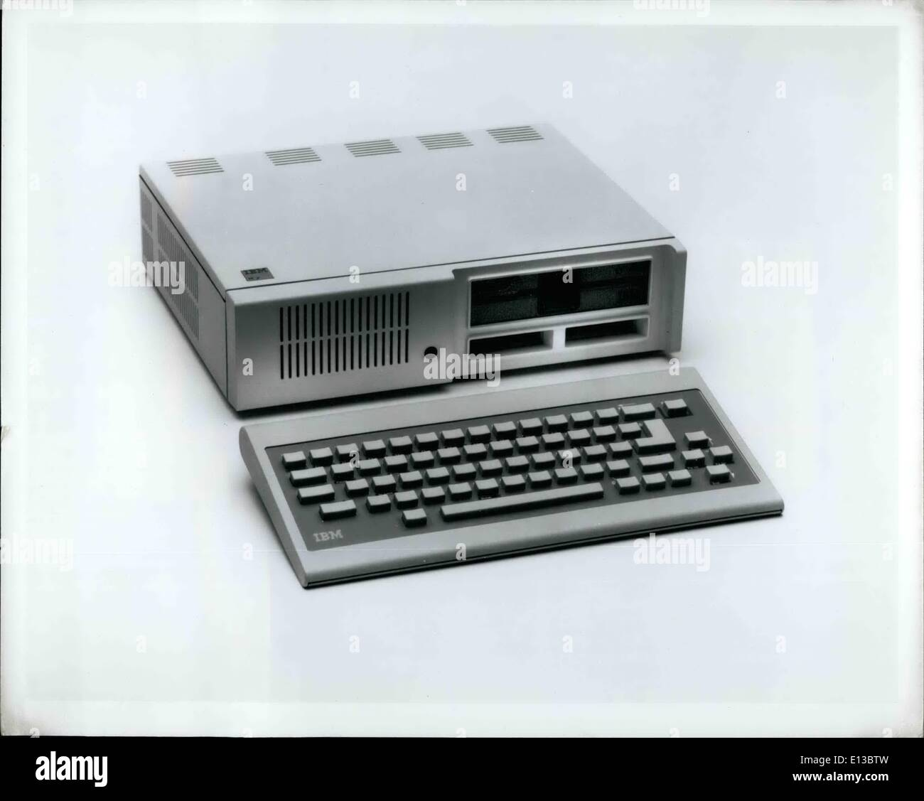 Feb. 29, 2012 - The IBM PCjr is the company's newest and most affordable computer. The version shown above features 131,072 characters of user memory, a 368, 640-character diskette drive, two program cartridge slots, and a cordless, infrared keyboard. It can be connected to a television or color monitor. When used with IBM's new Disk Operating System 2.1, this model is compatible with many diskette programs available for IBM Personal Computers. It is priced at ,269 at IBM Product Centers. The entry model, with 65,536 characters of user memory and without the diskette drive, is Priced at 69. - Stock Image