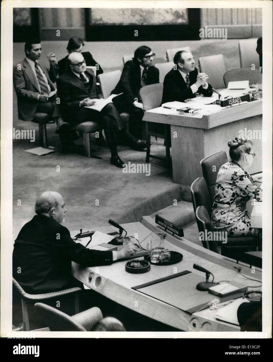 Feb. 29, 2012 - Acting observer to the UN for the PLO Zehdi Labib Terzi (lower left) tapping his pencil against a water pitcher - Stock Image