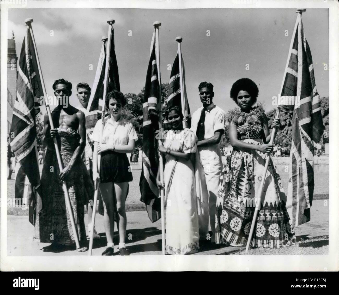 Feb. 29, 2012 - Fiji celebrates seventy five years of British rule.: The 75th anniversary of Fiji's cession to Britain was celebrated on October 10th. 1949, and was marked by military parades, a sports meeting to select athletes to compete in the Empire Games to be held at Auckland, N.Z. in Feb. 1950, and an exhibition to show the remarkable economic and social progress of the colony during the seventy-five years under British rule. - Stock Image