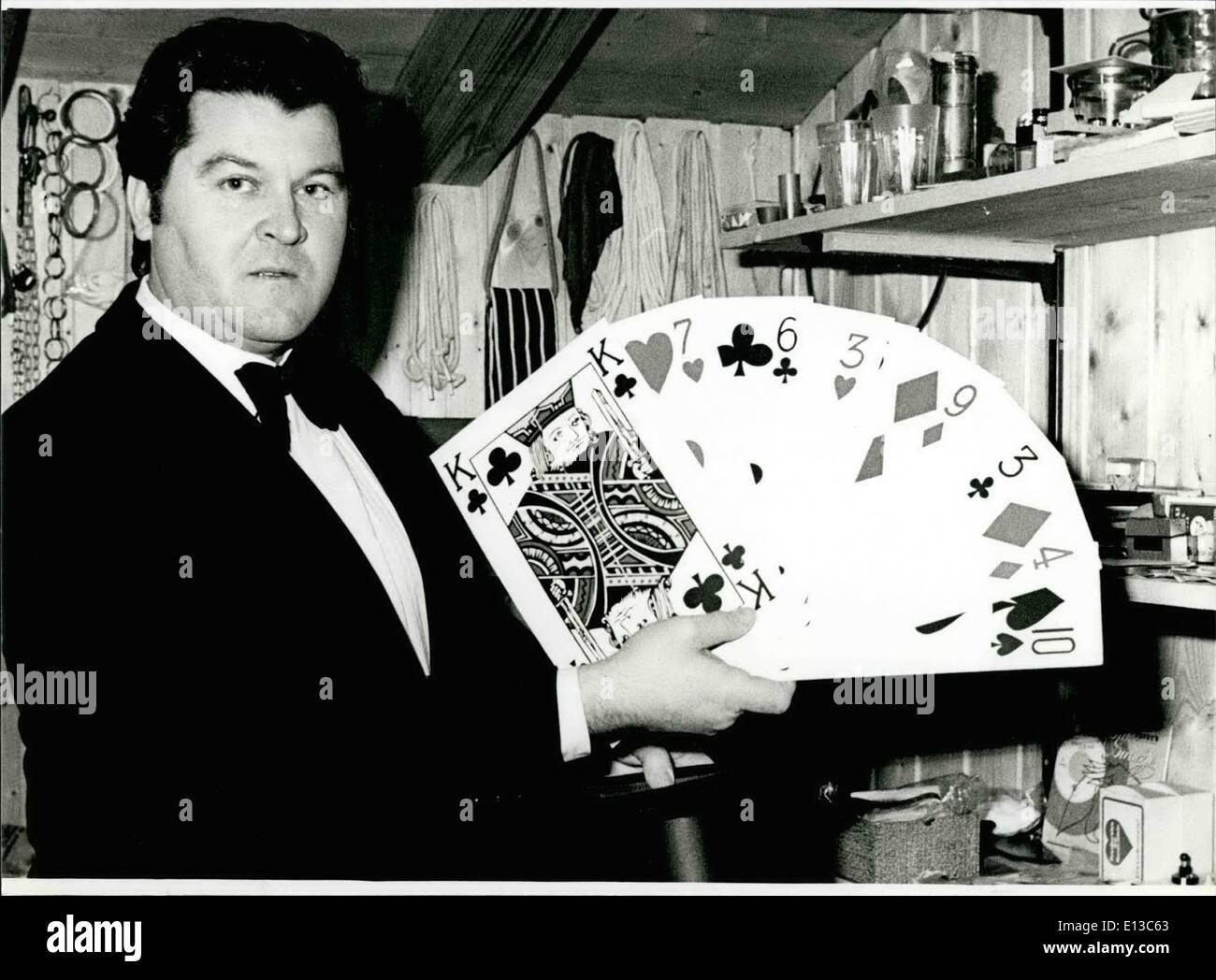 Feb. 29, 2012 - March 2nd And 3rd 1981: Attempt To Get The World Record In Permanent Magic: ''That's really magic''... what is happening on the carnival days (March 2nd and 3rd.1981) in Rosenheim/West Germany: namely an attempt to get the world record in permanent magic. For 32 hours (after each hour he makes a pause of five minutes) Matthias Weissl will take rabbits out of a silk hat and conjure play cards out of his hand - Stock Image