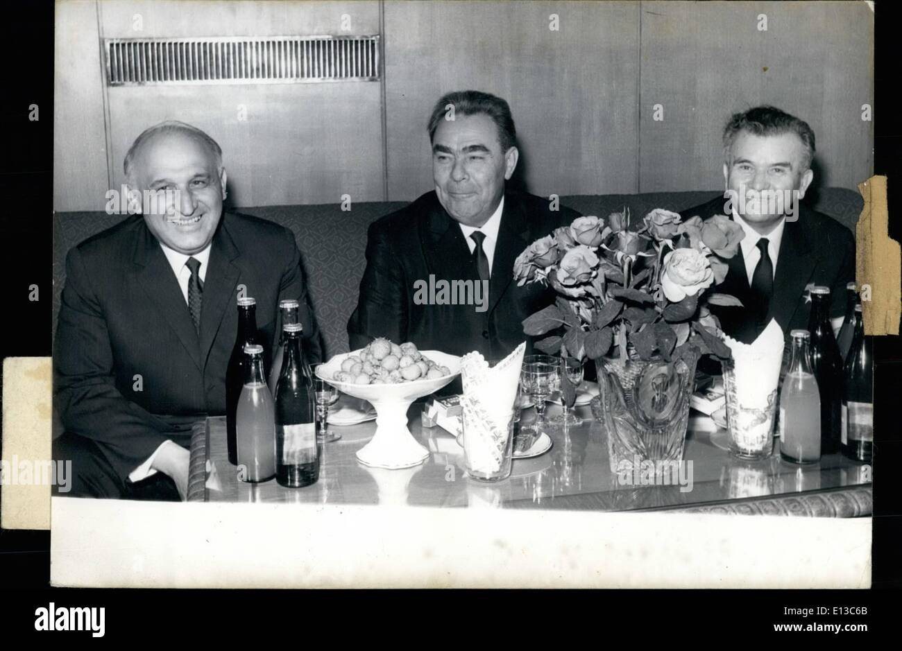 Feb. 29, 2012 - The Soviet Party and Government Delegation headed by L. Brezhnev visited Todor Zhivkov, First Secretary of the CC of BCP and Bulgarian Prime Minister and Georgi Traikov, Chairman of the National Assembly Presidium. OPS: (l to r) T. Zhivkov, L. Brezhnev and G. Traikov. Sofia, May 11, 1967 - Stock Image