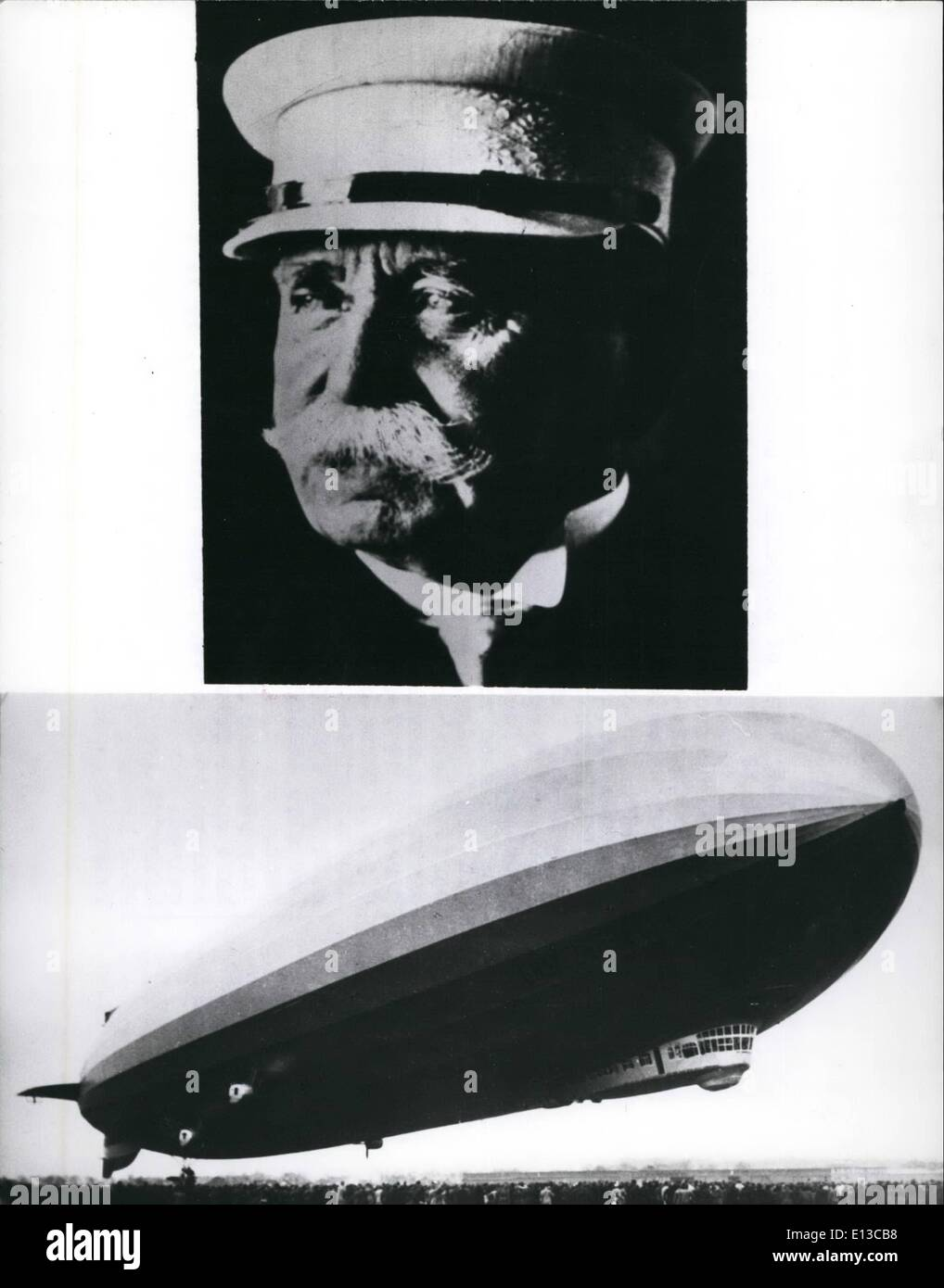 Feb. 29, 2012 - 60 Anniversary of Ferdinand count of Zeppelin's death on march 8 , 1977 there is the 60 anniversary of Ferdinand count of zeppelin's death, zeppelin became history as the inventor of the dirigible. Already in 1974 he world at the construction of a dirigible. In 1892 he tackled this problem assisted by his engineer th. kober, in 1895 his plan was rejected by an Experts commission - Stock Image
