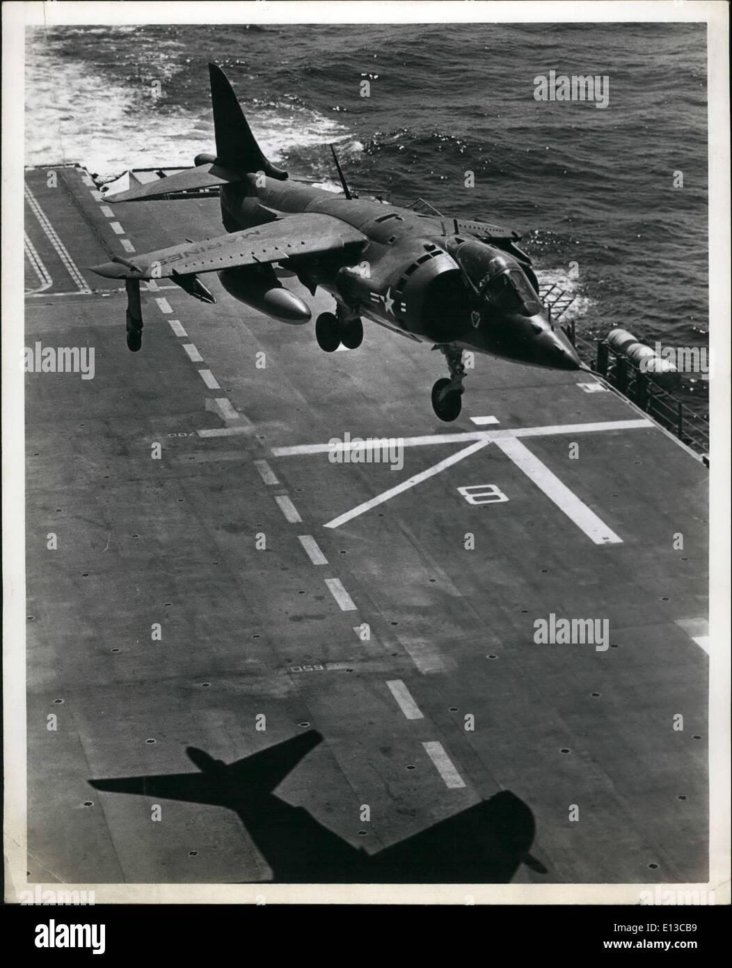 Feb. 29, 2012 - Harrier Jet Vertically taking off from deck of an L.H.A.[ (Tarawa class) amphibious assault ship] - Stock Image