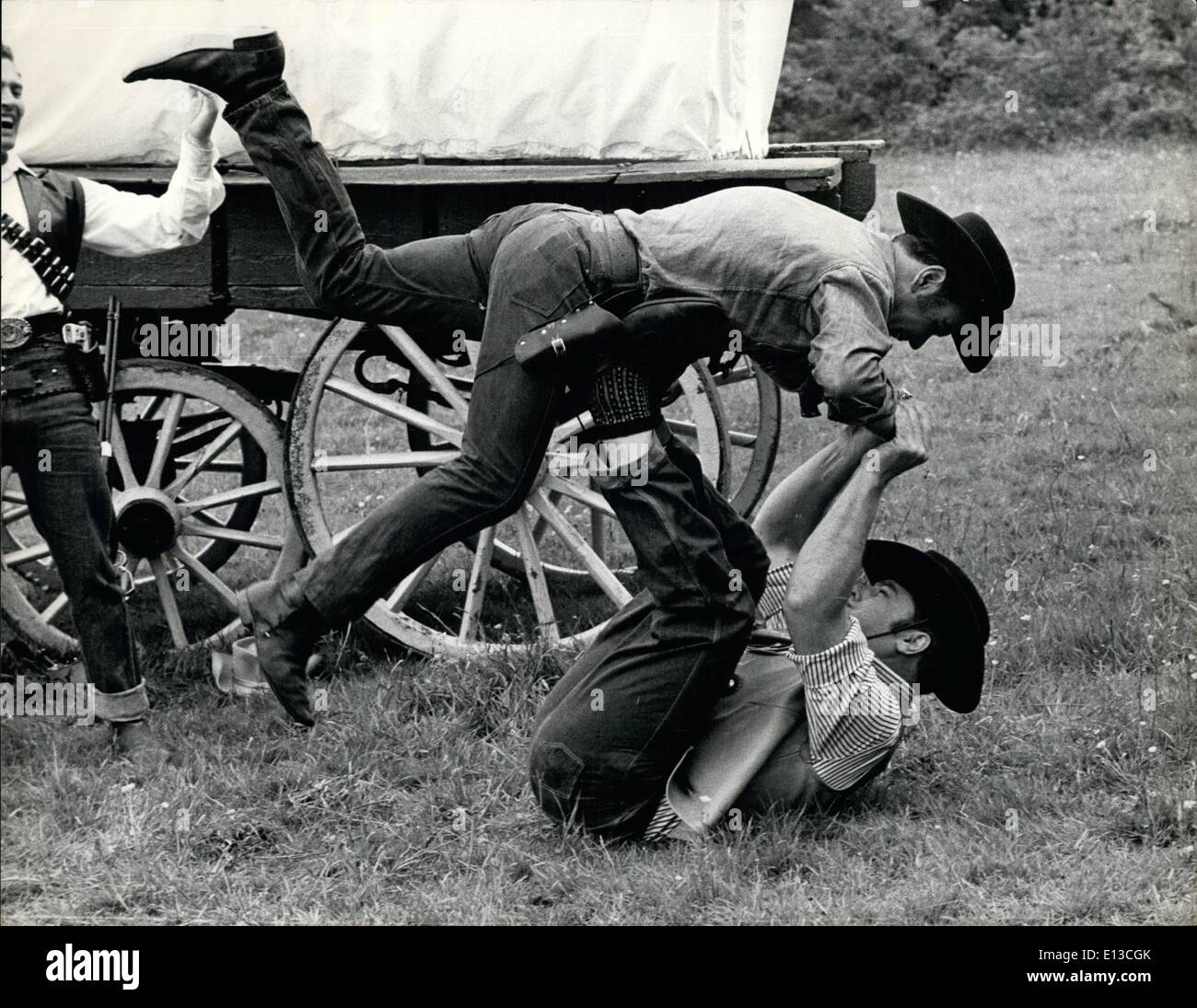 Mar. 02, 2012 - Members of the Remuds Western Club rehearse a fight sequence at their club in Chartridge, Bucks. - Stock Image