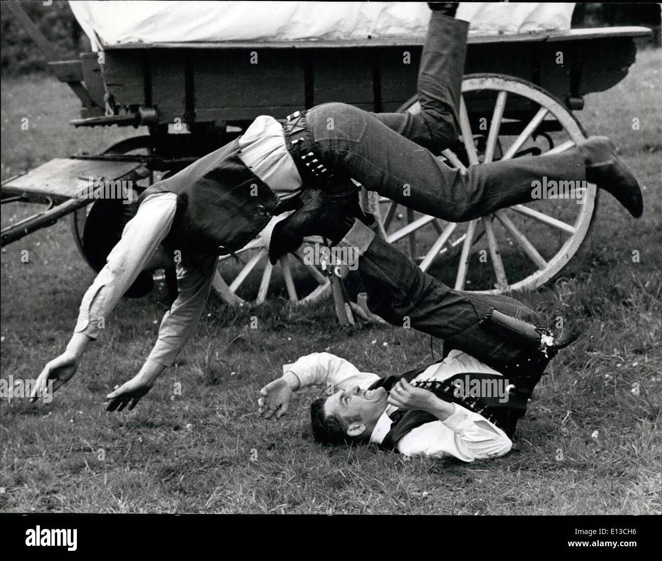 Mar. 02, 2012 - Two Remuds Western Club members rehearse a fight at the club's ''prarie'' in Chartridge, Bucks. - Stock Image