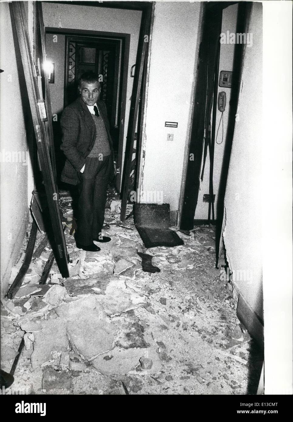 Feb. 29, 2012 - A bomb badly damaged the private office of Interior Minister Francesco Cossiga. The bomb was placed by the door - Stock Image