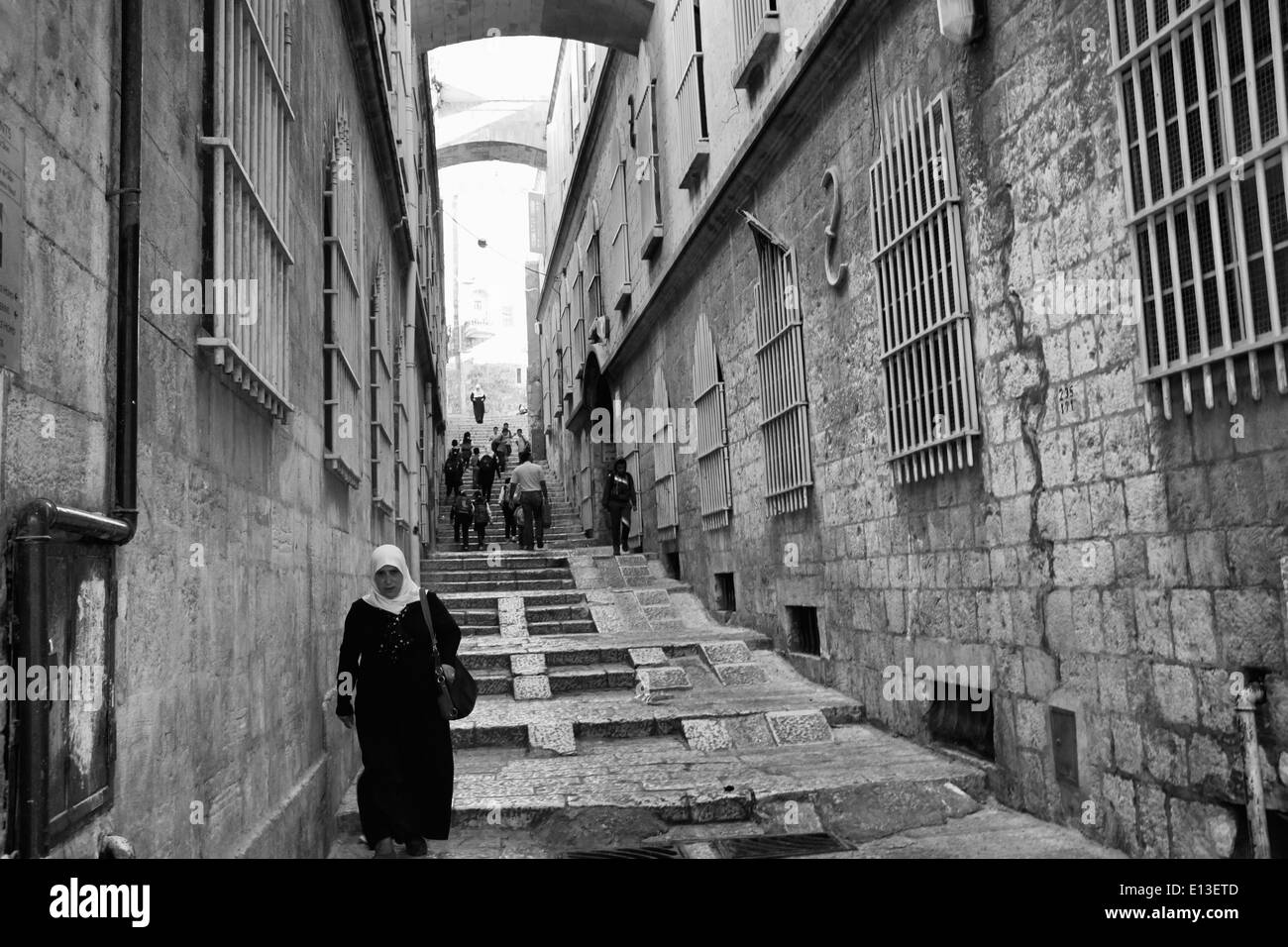 The Nun's Ascent in Jerusalem, Israel in black and White - Stock Image