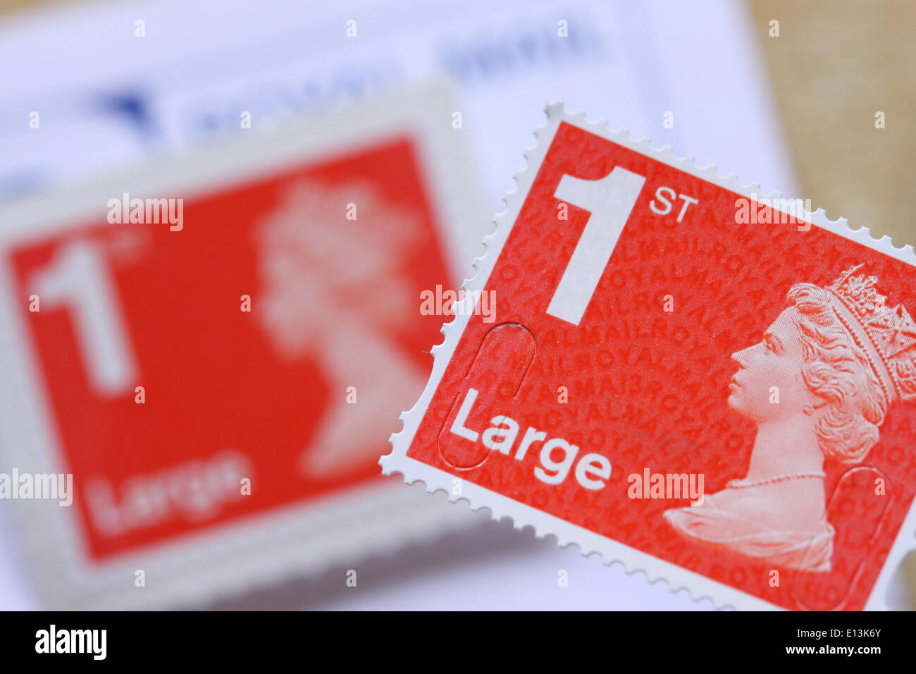 Royal Mail large 1st class postage stamp UK - Stock Image