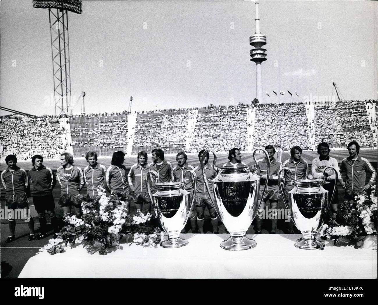 Mar. 02, 2012 - ''FC Bayern Munchen'' for the third time winner of the Football Europe cup: On May 12th, 1976 the famous German - Stock Image