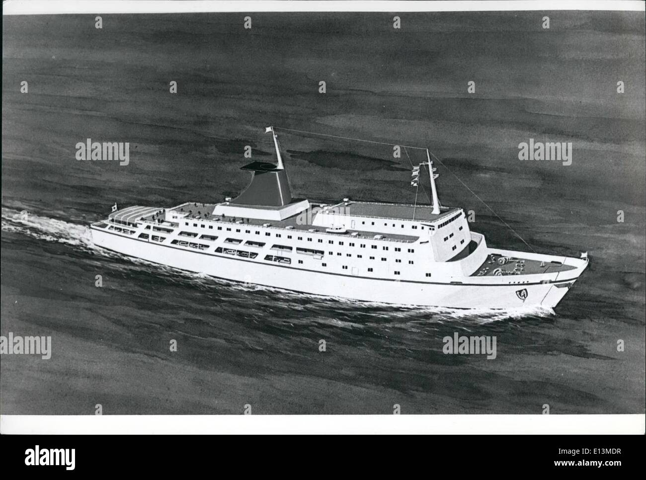 Mar. 22, 2012 - Fast-Car Ferry For Japan: A drawing of a new 6,000-ton car-ferry which will ply between Kawasaki Stock Photo