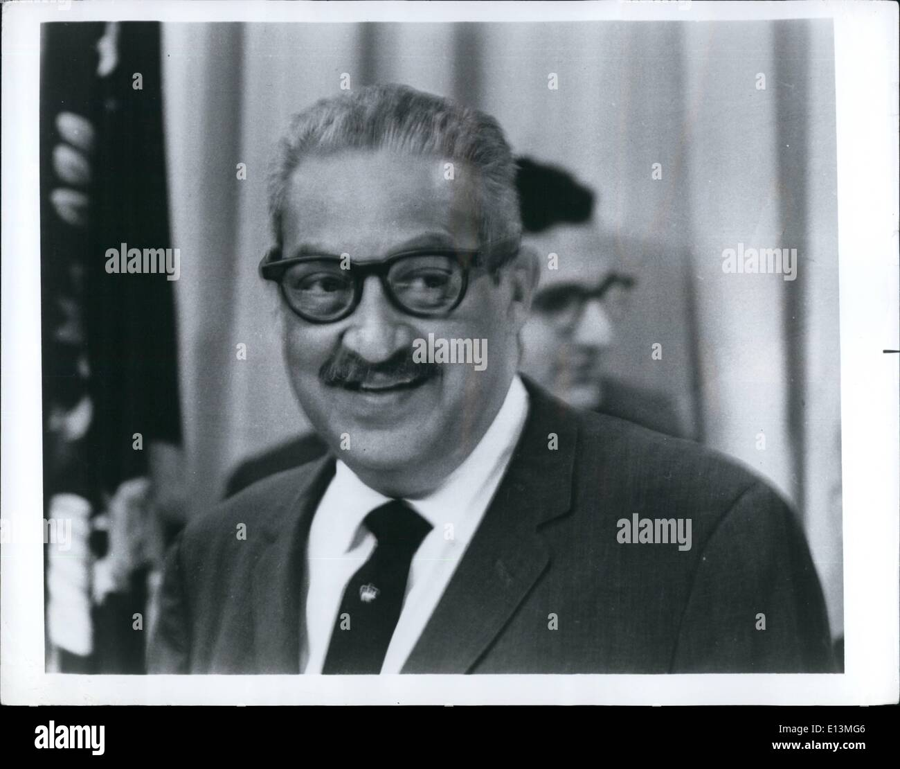 Mar. 22, 2012 - An Historic First : Thurgood Marshall, newest appointee to Supreme Court, is the very personification of the judicial oath ''to administer justice without respect to persons' - Stock Image