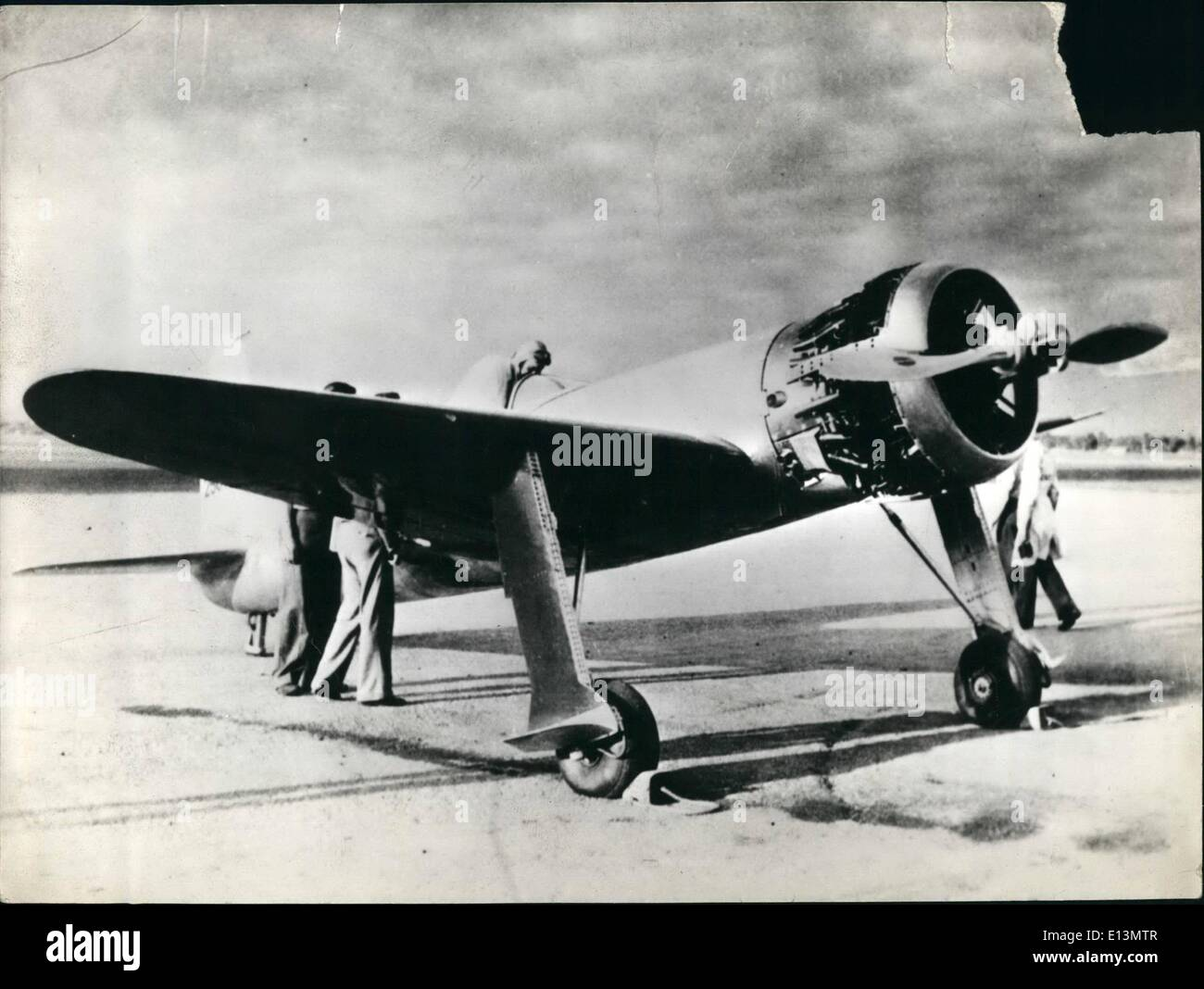 Mar. 22, 2012 - Producer and Plane in which he set unofficial speed mark: Los Angeles, Calif. Howard Hughes, millionaire Motion - Stock Image