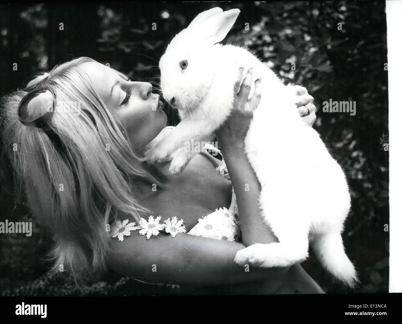 Mar. 02, 2012 - Pictured is model Gisela Beck holding ''Floppi.'' She considers the rabbit her good luck charm. Dr. Bleek Presents Check to Blind People's Institute. - Stock Image