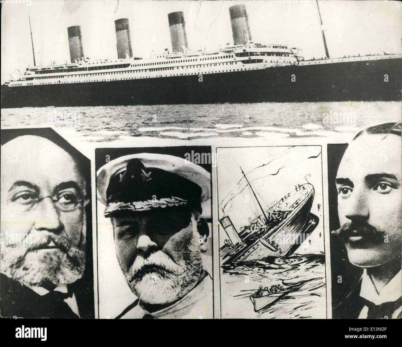 Mar. 22, 2012 - Sinking of the S.S Titanic. Photo shows Isadore Strauss; Captain E.J. Smith and John Jacob Astor. - Stock Image