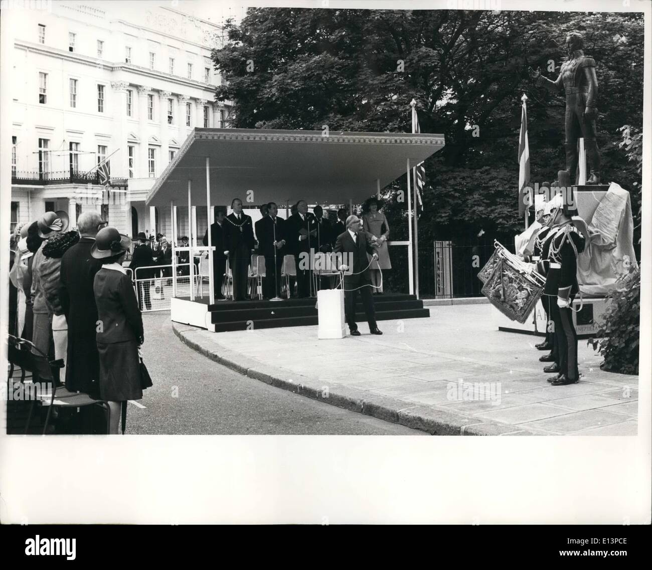 Mar. 22, 2012 - Boliver Statue Unveiled: James Callaghan, Britain's secretary of state for foreign and commonwealth affairs, seen as he unveiled the commorative statue to Simon Bolivar, in Belgrave Square, London, June 12th. - Stock Image