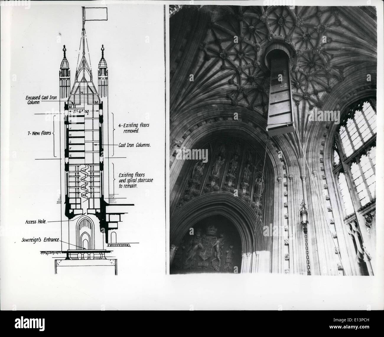 Mar. 22, 2012 - Major Structurel Alterations Inside Te Victoria Tower Seven New Floors For Storage Space: A ramarkable and intricate structiural alteration is now being carried out inside the famous Victoria Tower Of the House of Parliament. The Tower which is 360 feet high - was built over 100 years ago by Sir Charles Barry and is one of the largest square manor towers in the world -- and it has been transformed internally to provide 17,0000 square feet of modern storage accommodation for the unique accumulation of Parliamentary Records of one and a half million documents and books including - Stock Image