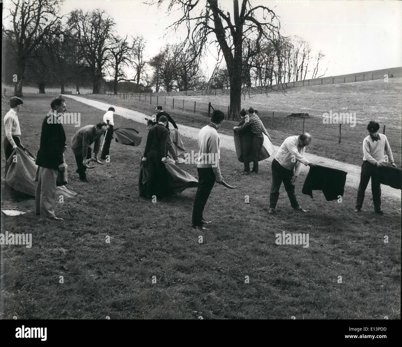 Mar. 22, 2012 - Bullfighters all-members practice various manoupres. - Stock Image