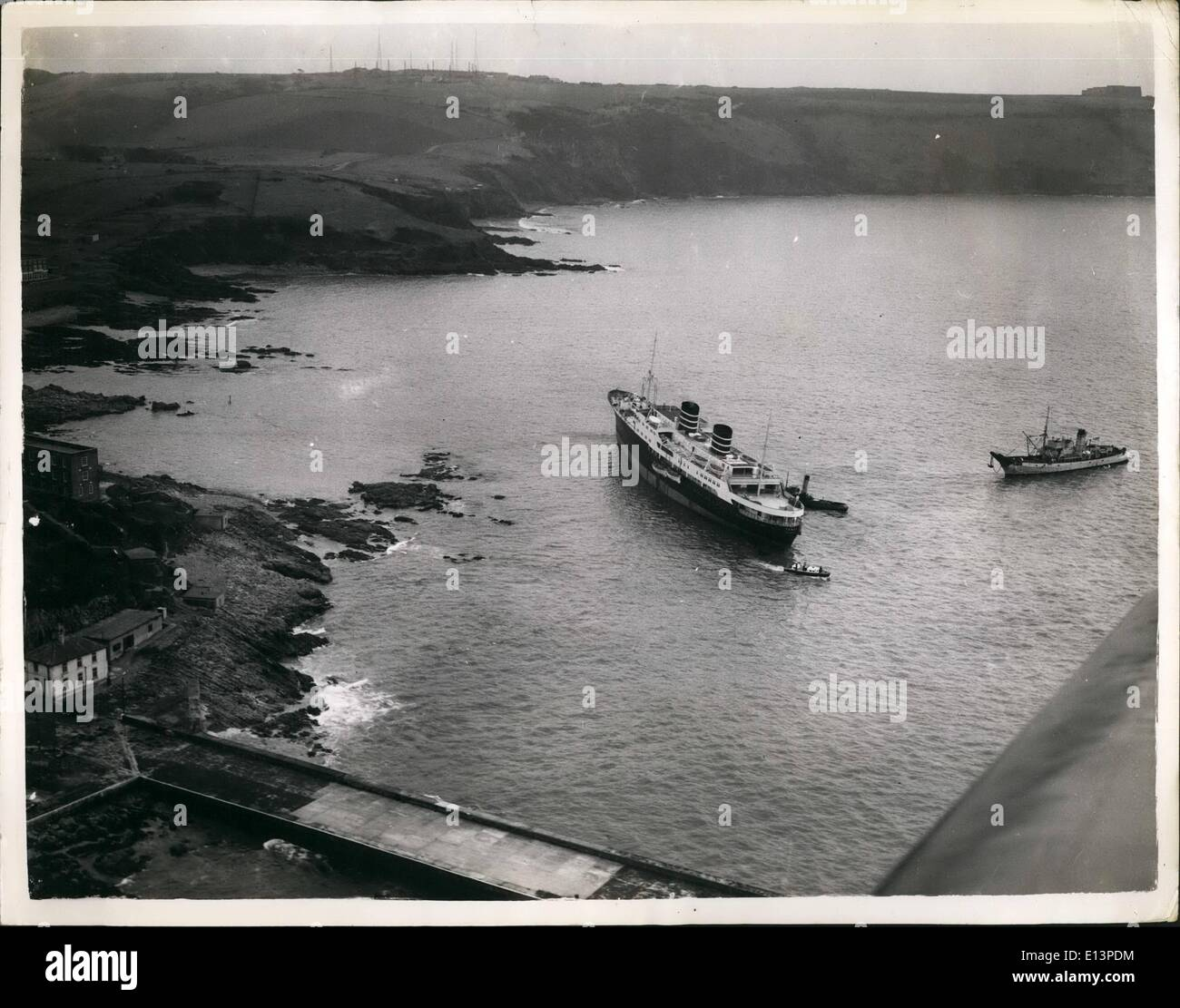Mar. 22, 2012 - Linear Aground Off Plymouth Hoe.. From the air.. The scene from - Stock Image