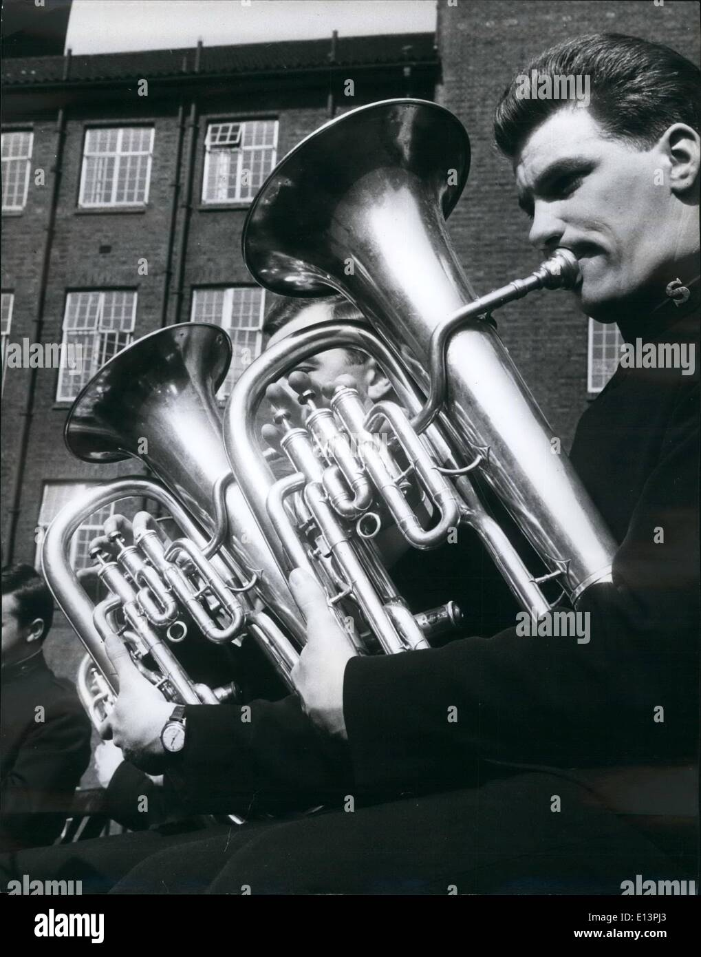 Mar. 22, 2012 - Euphorium players practicing Salvation Army's Training College in London. - Stock Image