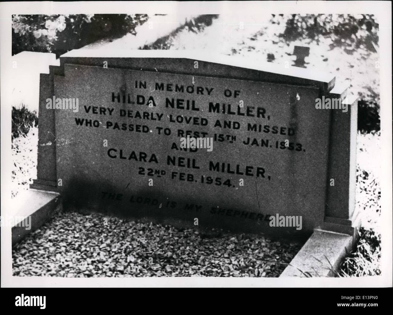Mar. 22, 2012 - In memory of Hilda Neil Miller, very dearly loved and missed who passed to rest 15th Jan. 1953. Stock Photo